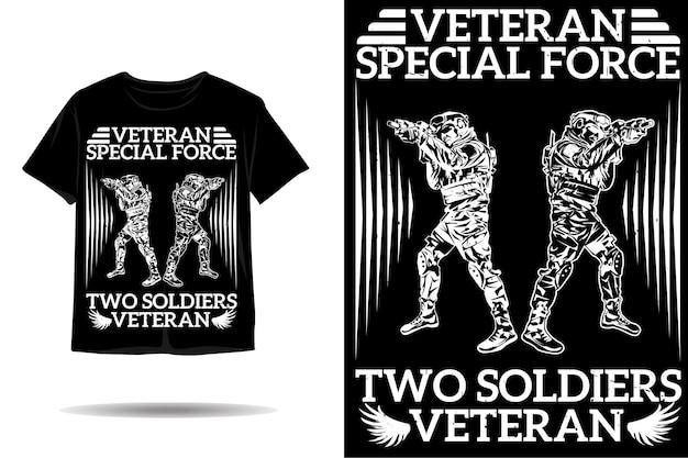 Design della maglietta silhouette veterano della forza speciale