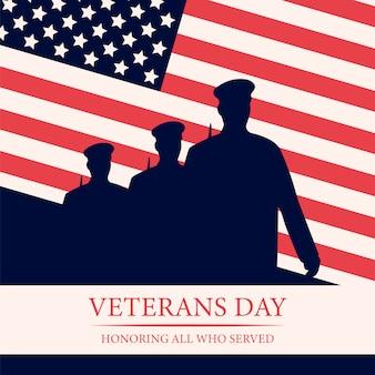 Veterans day sullo sfondo dell'evento nazionale americano. Vettore Premium