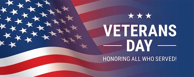 Sfondo del giorno dei veterani con sventolando la bandiera degli stati uniti