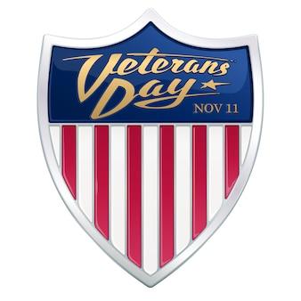 Giorno dei veterani. testo calligrafico nello scudo araldico con strisce rosse della bandiera americana.