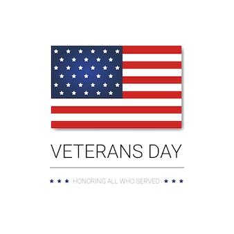 Bandiera nazionale americana di festa di celebrazione di festa dei veterani con la bandiera degli sua