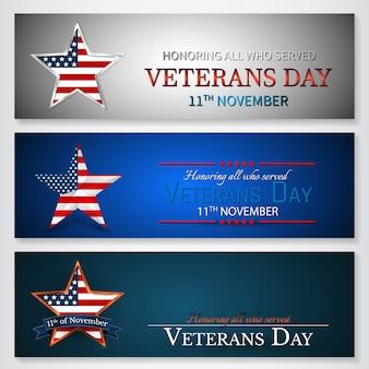 Veterans day of usa con la stella nella bandiera americana di colori della bandiera nazionale. onorare tutti coloro che hanno servito.