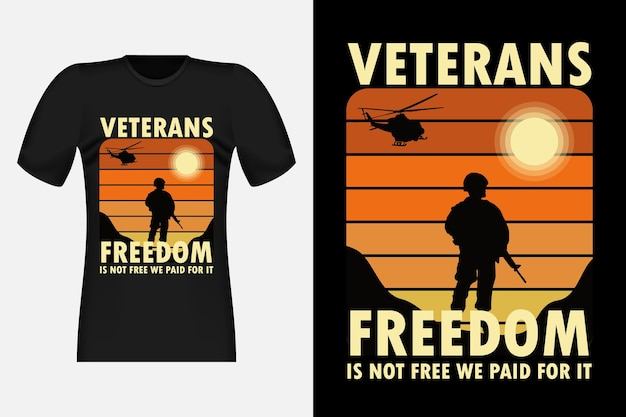 Veterans freedom vintage retro t-shirt design