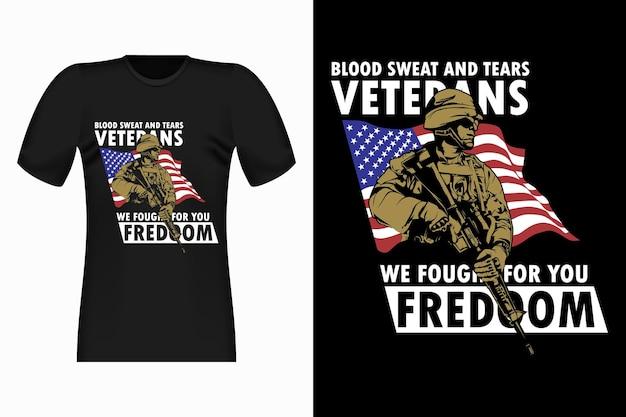 Design retrò per t-shirt vintage veterani