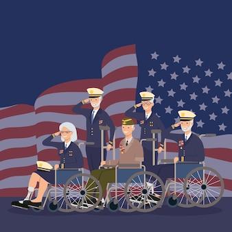 Veterani con protesi e sedie a rotelle