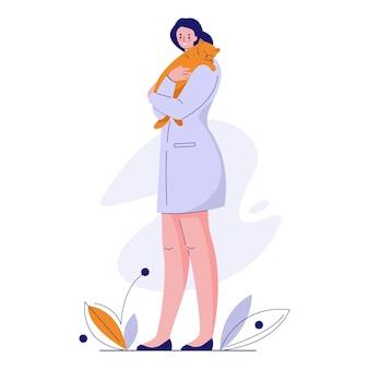 Medico veterinario con un gatto in camice. illustrazione vettoriale in stile piatto.