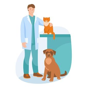 Veterinario con un cane e un gatto. illustrazione vettoriale. stile piatto.