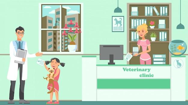 Illustrazione piana di vettore di appuntamento veterinario Vettore Premium