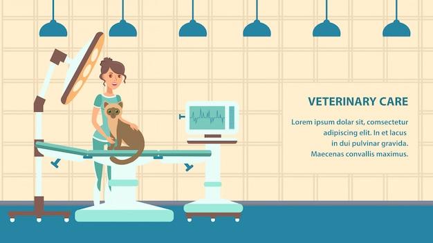 Modello dell'insegna del fumetto di vettore di cura veterinaria Vettore Premium