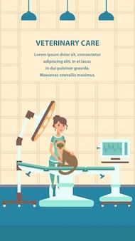 Modello di poster a colori piatto di cura veterinaria vettoriale