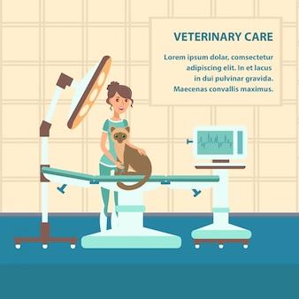Modello di colore di banner web vettoriale di cura veterinaria Vettore Premium