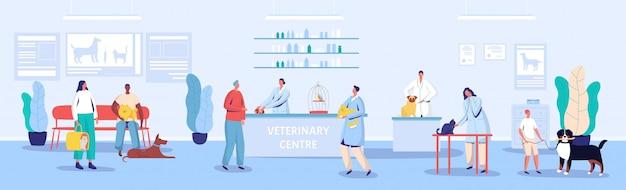 Illustrazione di ricezione e sala d'attesa del centro veterinario