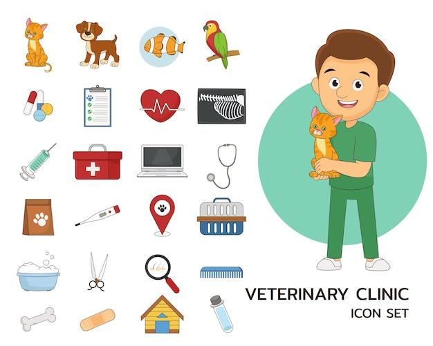 Icone piane di concetto di clinica veterinaria.