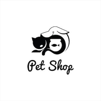 Illustrazione vettoriale del negozio di animali veterinario modello simpatico cartone animato