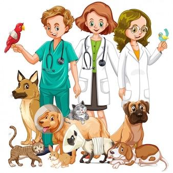 Veterinari con animali background Vettore Premium