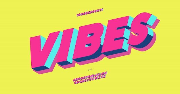 Vibes 3d grassetto carattere tipografico colorato