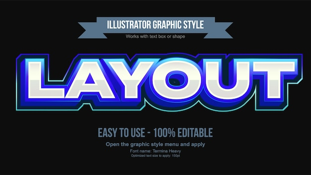 Stile di testo modificabile sportivo 3d blu metallizzato vibrante