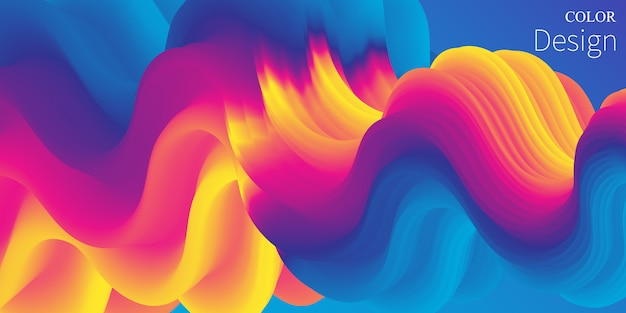 Colore vibrante. onda liquida. flusso del fluido.
