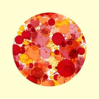 La vernice dell'acquerello artistico rosso e arancione vibrante cade il fondo di vettore. biglietto di auguri o modello di invito con schizzi ad acquerello nella cornice rotonda, quadrata