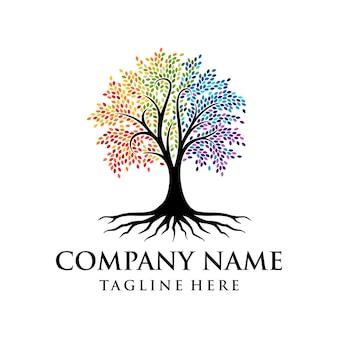 Logo dell'albero vibrante design del logo dell'albero arcobaleno