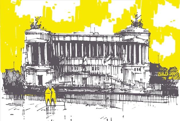 Victor emmanuel national monument disegnato a mano. edificio storico italiano vittoriano. architettura di roma.