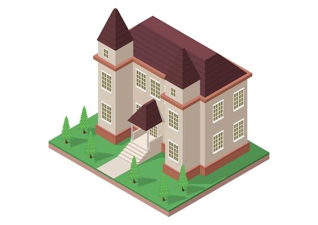 Illustrazione di casa in stile vittoriano