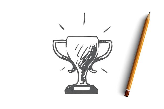 Concetto di successo della concorrenza del trofeo della tazza di vittoria