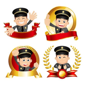 Poliziotto della vittoria con diverse pose