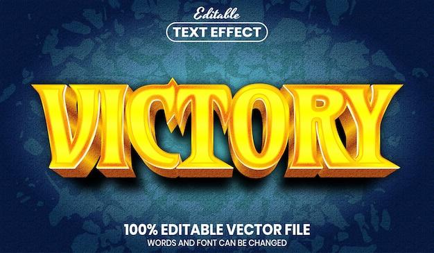 Testo della vittoria, effetto testo modificabile in stile carattere
