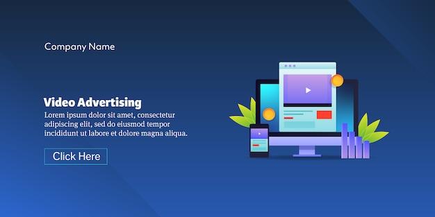 Banner concettuale di pubblicità video