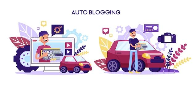 Video blog sulla riparazione dell'auto. uomo in piedi