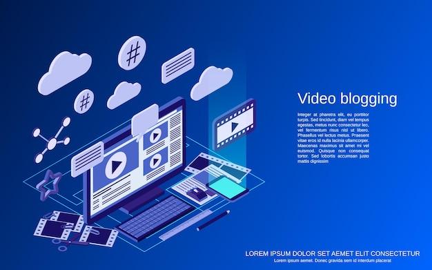Video blogging piatto 3d isometrico vettore concetto illustrazione