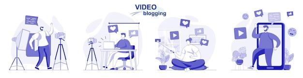 Video blogging set isolato in design piatto le persone registrano video i blogger creano contenuti del blog