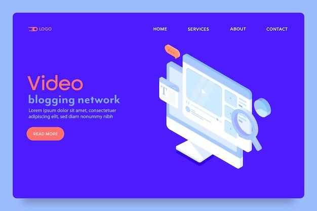 Pagina di destinazione della rete di video blogging