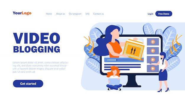 Modello di pagina di destinazione di vettore di video blog con intestazione