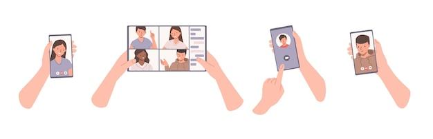 Concetto di videochiamata. mani che tengono telefoni o tablet con chat video in arrivo o in corso. illustrazione del fumetto piatto