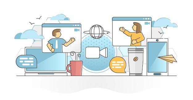 Conversazione digitale di videochiamata con concetto di contorno parlante webcam online
