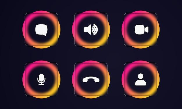 Icone di videochiamata. altoparlante, chat video, icone relative alla fotocamera. stile del vetromorfismo. app di chat video online, tecnologia di chiamata. effetto morfismo di vetro con set di lastre di vetro trasparente.