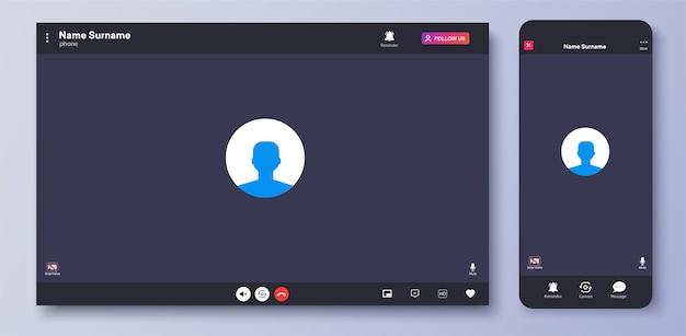 Interfaccia di videochiamata. schermata dell'interfaccia utente della chat web. modello di schermata di chiamata. ux, interfaccia kit. domanda di chiamate e riunioni in conferenza online. finestre di comunicazione per app mobile