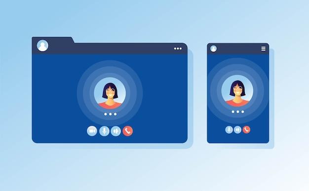Concetto di app schermata di videochiamata ui ux per comunicazione chiamata internet laptop