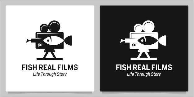 Cinema con videocamera con design del logo dello spazio negativo dei pesci