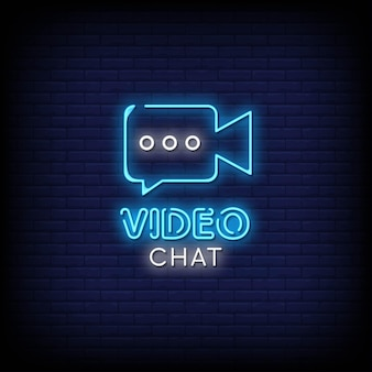 Chat video insegne al neon in stile testo vettoriale