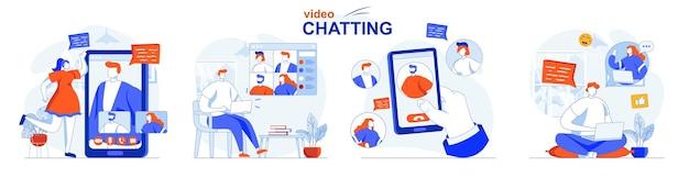 Set di concetti di chat video comunicazione online gli amici parlano in videochiamate