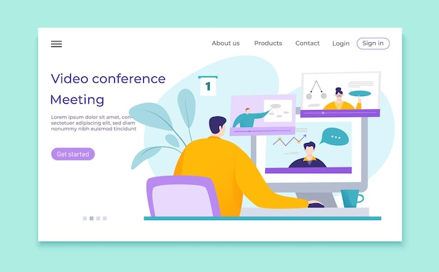 Illustrazione di riunione d'affari di videoconferenza