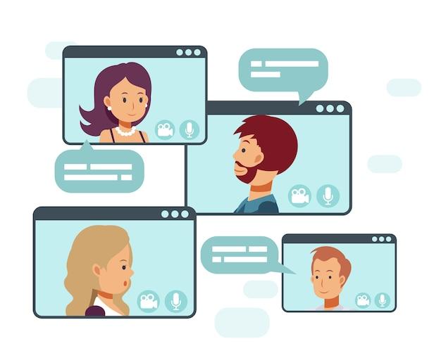 Videoconferenza di una riunione di gruppo aziendale. lavoro a distanza. lavorare da casa, illustrazione del concetto di tecnologia online.