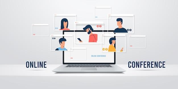 Videoconferenza. webinar online.