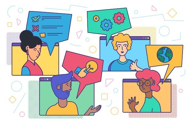 Videoconferenza e chat. incontro online di persone diverse per la comunicazione web a distanza. videochiamata di amici o chiamata di lavoro di gruppo da casa. illustrazione vettoriale