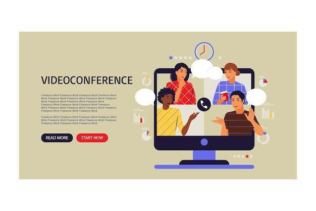 Concetto di videoconferenza. colleghi sullo schermo del computer parlando. pagina di destinazione. illustrazione vettoriale. appartamento.