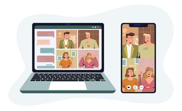 Illustrazione di vettore piatto di videoconferenza. riunione di lavoro online dei colleghi tramite videochiamata sullo schermo del telefono e del laptop. lavoro virtuale da casa. concetto di lavoro a distanza, freelance o telelavoro