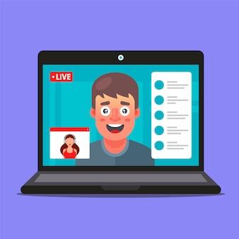 Videoconferenza di una ragazza e un ragazzo. lavoro d'ufficio remoto. trattative commerciali. illustrazione di personaggi.